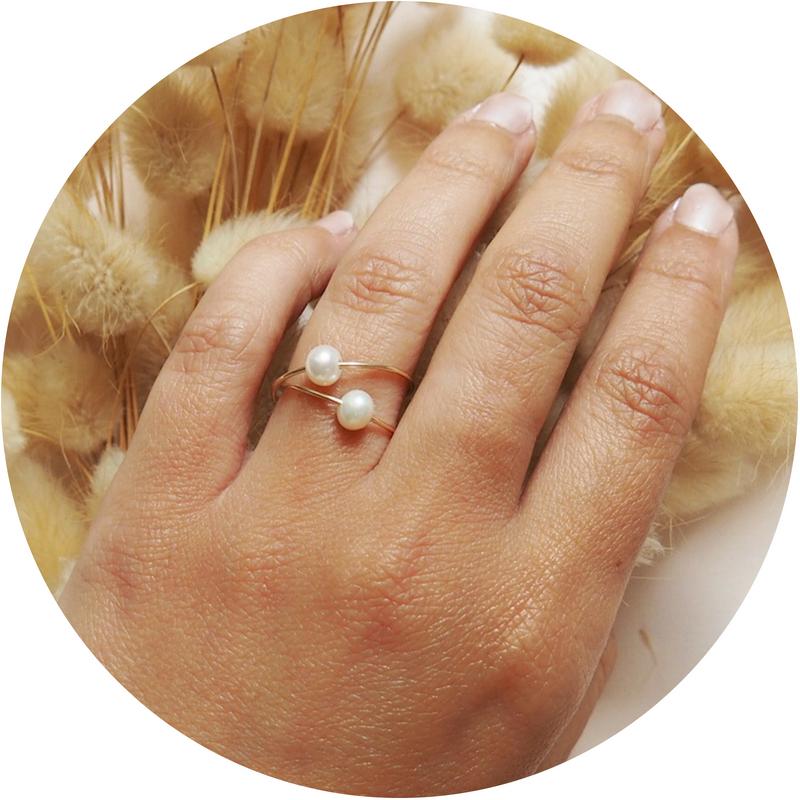 Bague perle blanche aurore gwladys