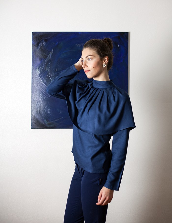 Blouse marine Anastasia Aurore Gwladys