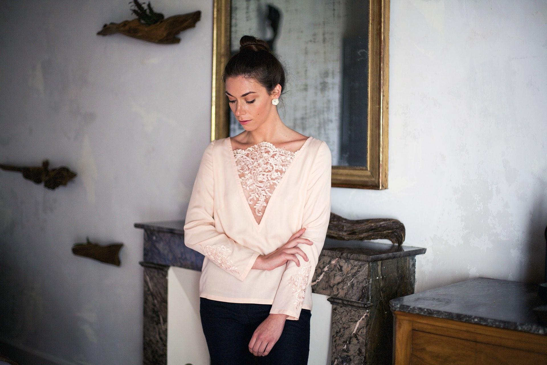 Blouse rose Anna Aurore Gwladys