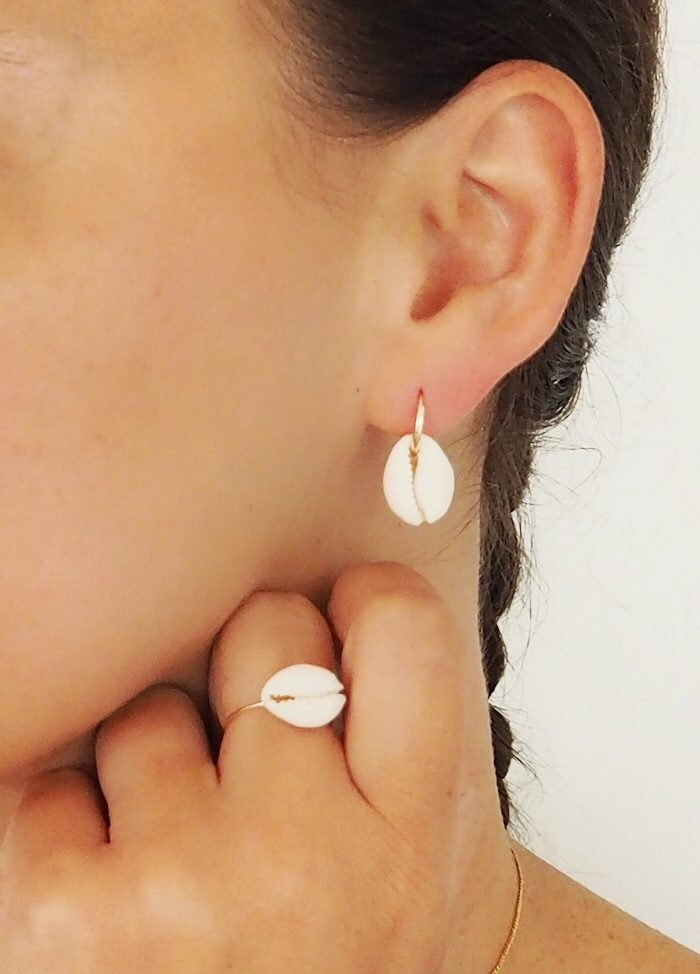 Boucles d'oreilles cauri aurore gwladys