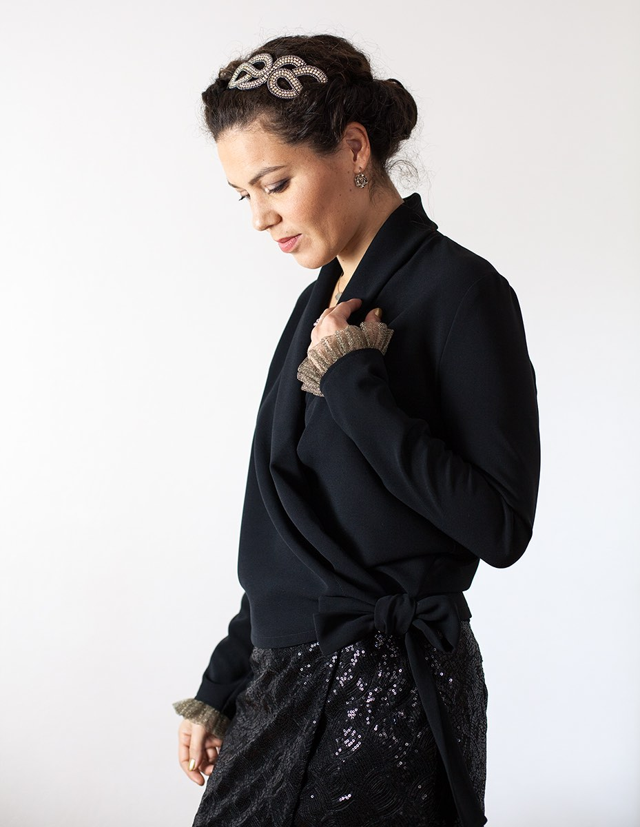 Cache-coeur noir Cleo Aurore Gwladys