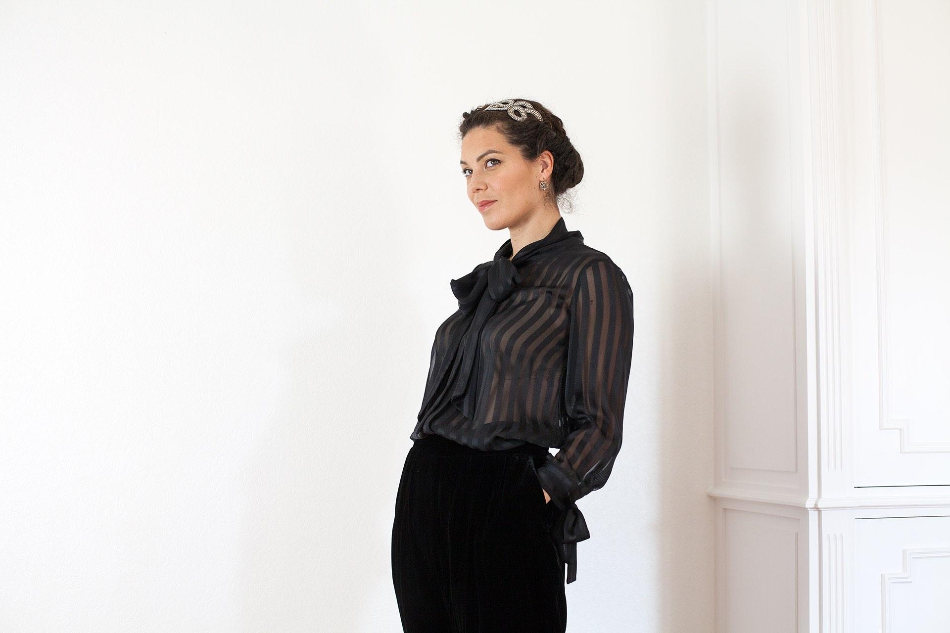 Chemisier noir Greta Aurore Gwladys