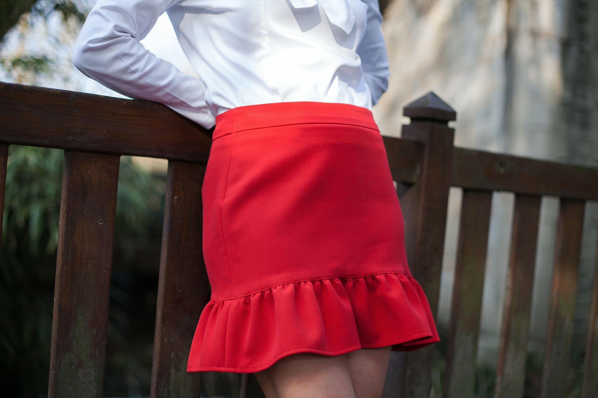 Jupe rouge Adeline Aurore Gwladys