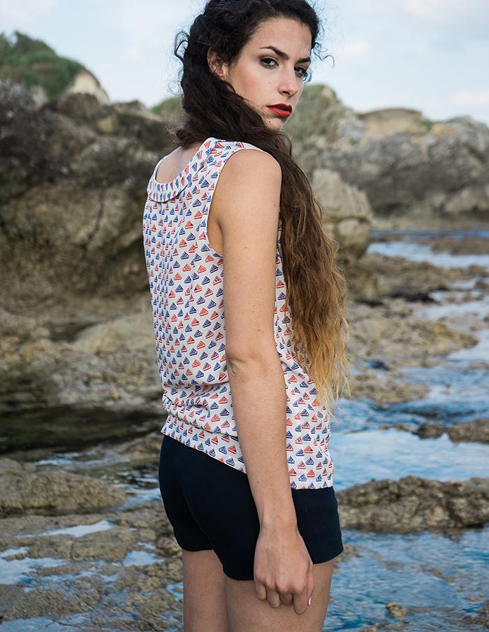 Tee-shirt imprimé Marin rouge et marine Aurore Gwladys