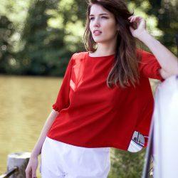 Dans Le Gwladys Aurore Blouse Rouge Dos Ouverte Louisa AR54q3Lj