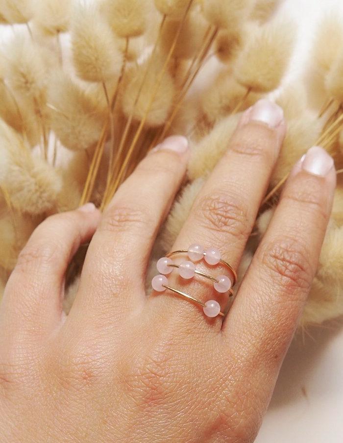 Bague quartz rose aurore gwladys