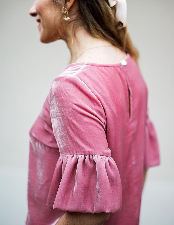 Blouse rose Juliette en velour de soie Aurore Gwladys