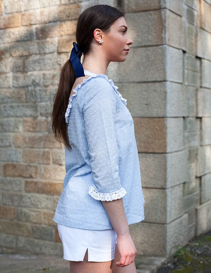 Blouse bleu Lila Aurore Gwladys