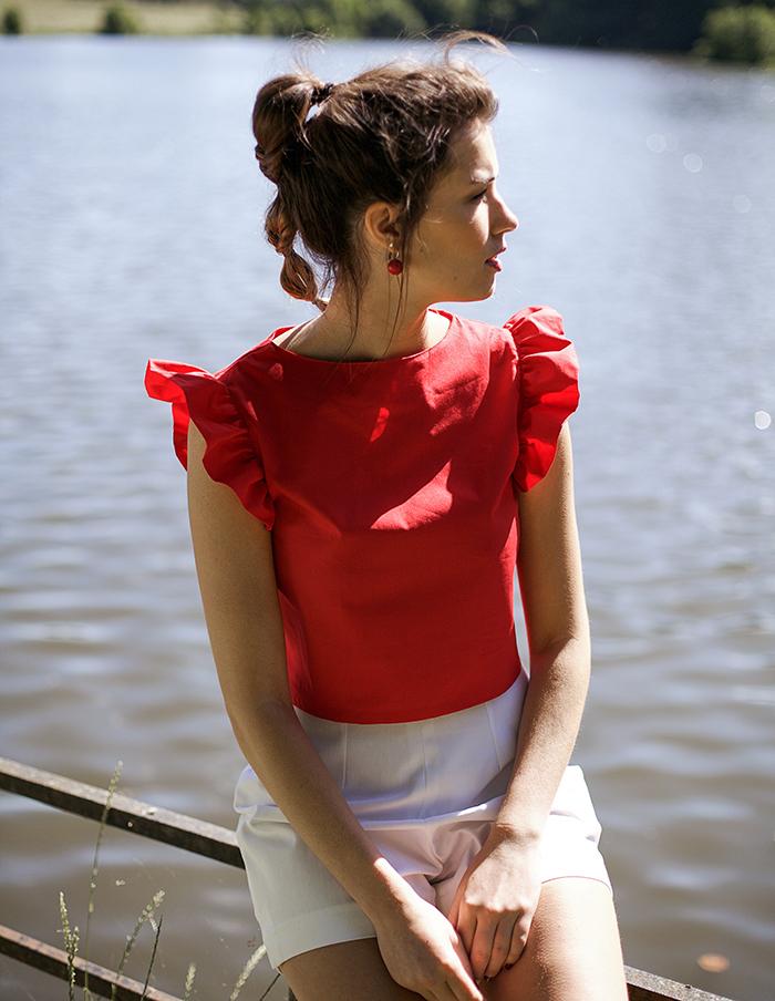 Top rouge Elisa Aurore Gwladys
