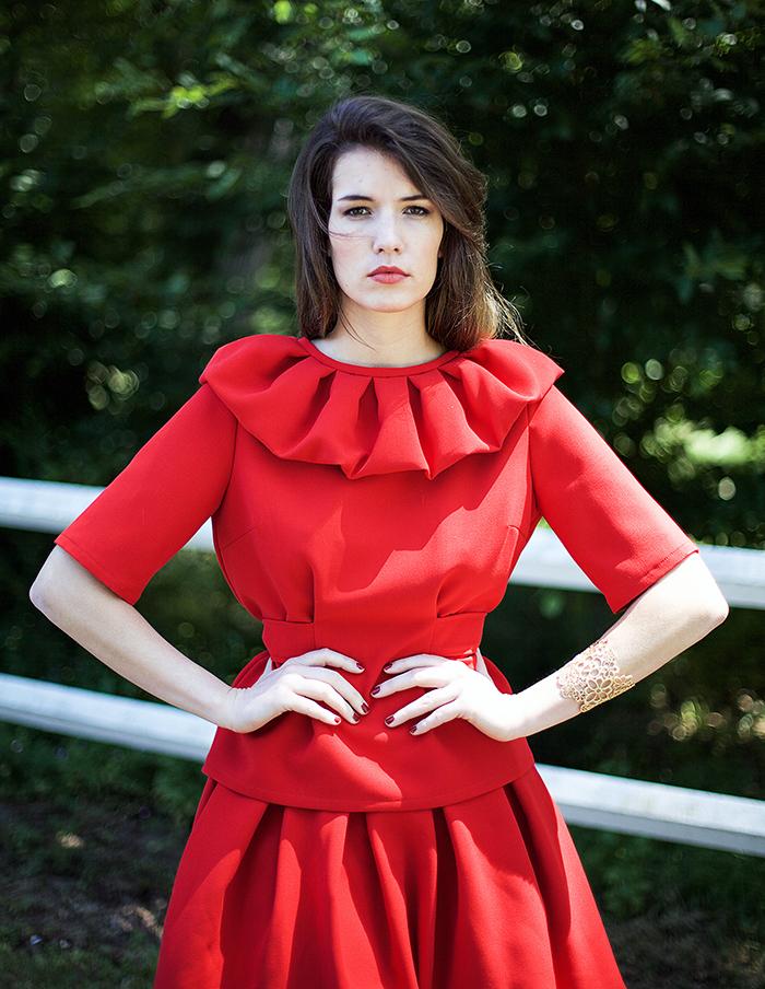 Top rouge Laura Aurore Gwladys