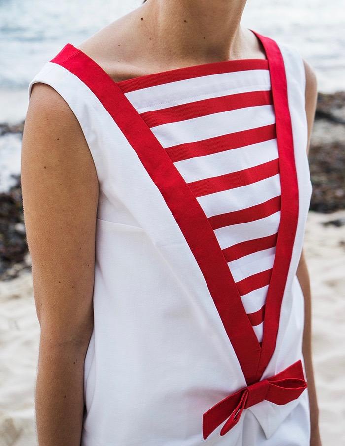 Tunique Gabrielle Aurore Gwladys rouge et blanche