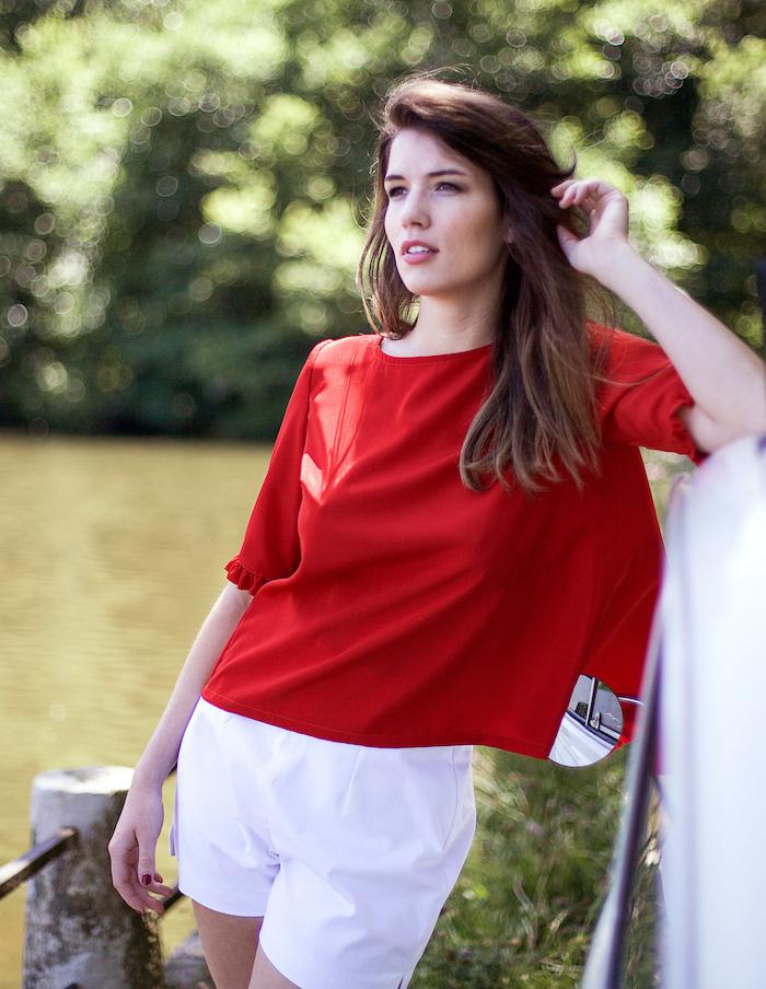 Top rouge Louisa Aurore Gwladys